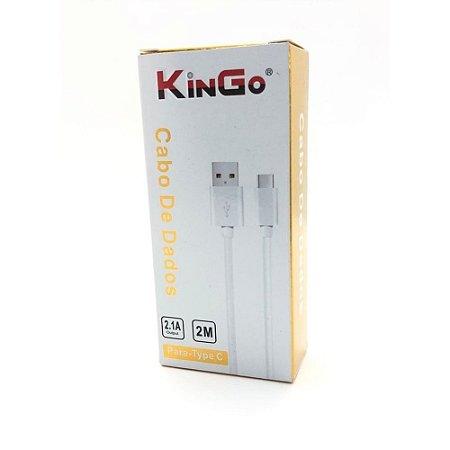 CABO USB TIPO C 2,0M BRANCO  KINGO