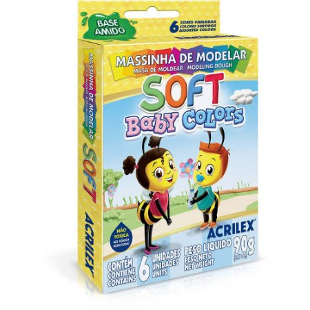 MASSA DE MODELAR BABY COLORS (06 CORES)(BASE AMIDO SOFT)(ACRILEX)(07370)