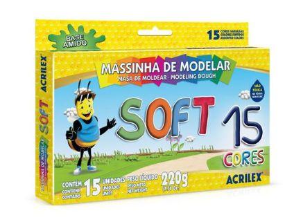 MASSA DE MODELAR 15 CORES BASE AMIDO SOFT ACRILEX 07314