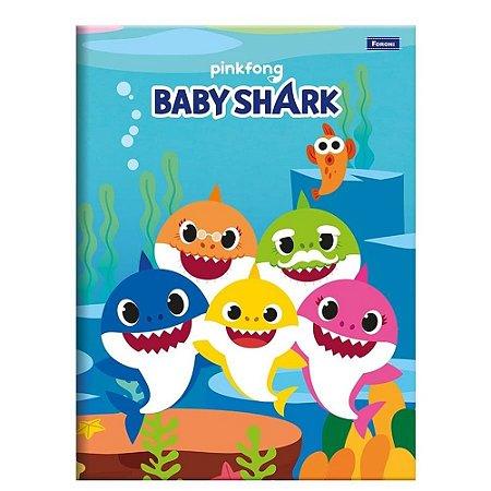 CADERNO BROCHURA CD 1/4 48F BABY SHARK (FORONI)
