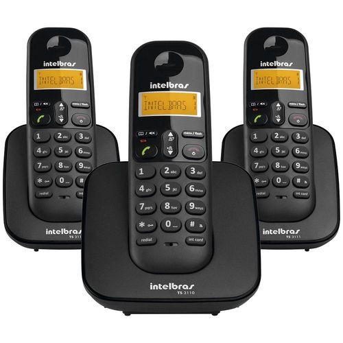 TELEFONE S/FIO C/ID +2RAMAL PRETO INTELBRAS TS3113