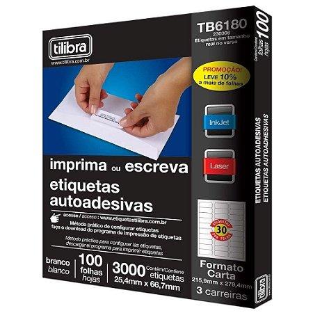 ETIQUETA ADESIVA 25,4 X 66,7 100F CARTA TILIBRA 230308