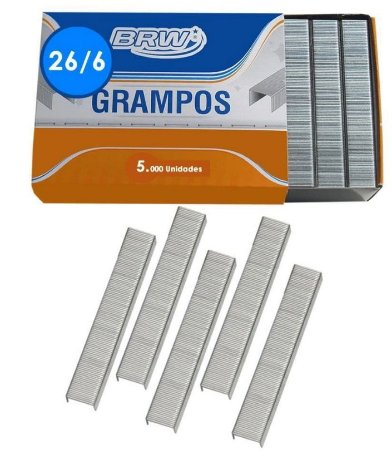 GRAMPOS GALVANIZADO  26/6 CX.5000UN BRW GR5000