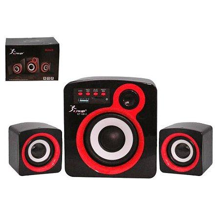 CAIXA SOM SUBWOOFER 16W 2.1 AZUL USB/FM/SD/BLUETOOTH KNUP KP-6011