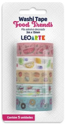 WASHI TAPE FOOD TRENDS C/ 5 15MMX5M LEOARTE