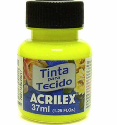TINTA TECIDO 37ML AMARELO LIMAO FLUORESCENTE ACRILEX 102