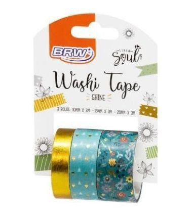 WASHI TAPE SHINE VERDE C/ 3 BRW