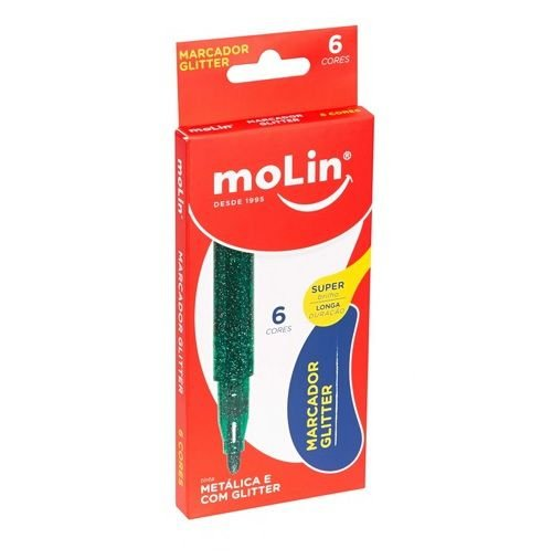ESTOJO MARCADOR METALICO GLITTER C/ 6 MOLIN