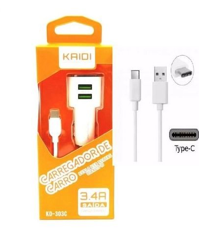 CARREGADOR VEICULAR 2 USB + CABO TIPO C KAIDI KD-303C