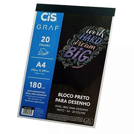 BLOCO A4 PRETO DESENHO 180G CIS