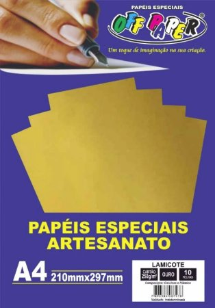 PAPEL LAMICOTE OURO A4 250G 10F PCT OFF PAPER