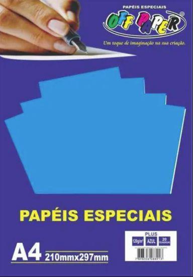 PAPEL COLOR A4 20F 120G AZUL OFF PAPER
