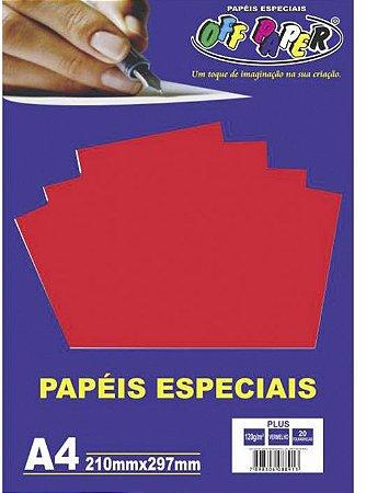 PAPEL COLOR A4 20F 120G VERMELHO OFF PAPER