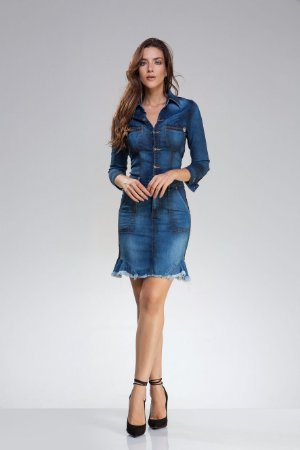 06389761b Vestido Jeans Curto Manga 3 4 - Domênyca