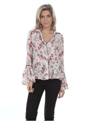 Camisa Social com Estampa Floral e Manga Flare