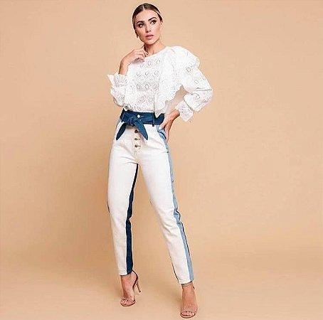 Calça Jeans Tricolor
