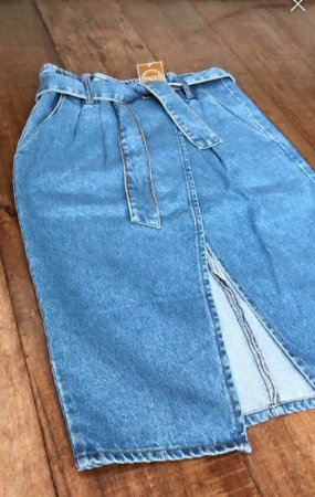 Saia Midi Jeans Clochard