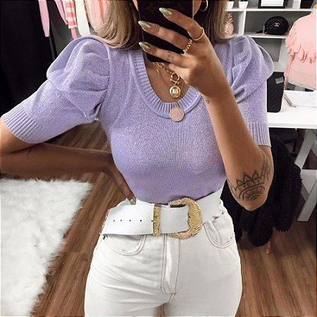 Blusa Tricot Modal com Lurex Princesa