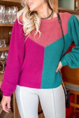 Blusa em Tricot Tricolor - Veste M e G