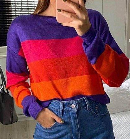 Blusa Tricot Comfy Listras
