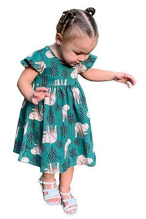 vestido infantil - verde folha