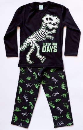 Pijama Infantil Manga Longa Dinossauro Frase