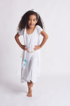 Vestido Infantil Princesa do Frio Branco