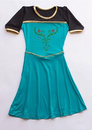 Vestido Infantil Princesa Verde Capa