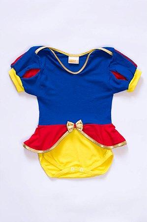 Body Bebê Fantasia Princesa Azul