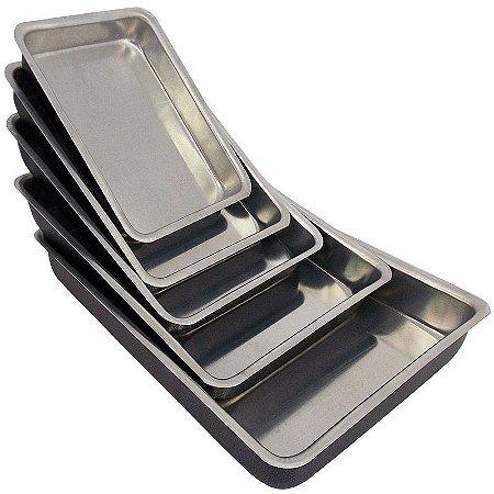 Conjunto 5 Assadeiras de Alumínio Retangular (Fôrma) - Preto