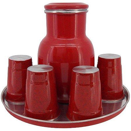 Moringa de Água 2 Litros com 6 Copos de 300 ml - Vermelho (Jarro de Água)