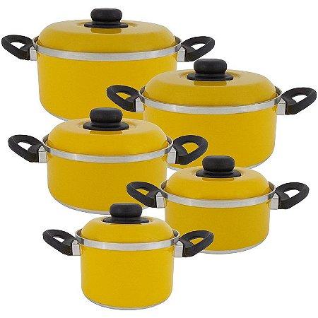 Jogo de Panela de Alumínio com Tampa de Alumínio 5 Peças Koup - Amarelo