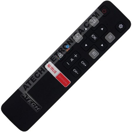 Controle Remoto TV LED TCL RC802V / 50P8M / 55P8M / 65P8M com Netflix / GloboPlay e Comando de Voz (Smart TV)