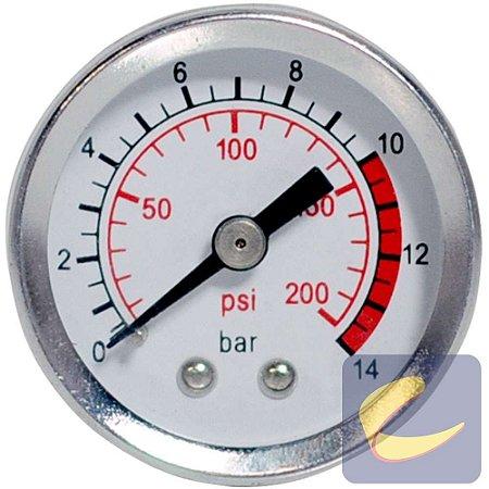 Manômetro 200 Lbs 0/200 40 Mm. 1/8 Bsp Mupac Compressores De Ar Média Pressão Chiaperini