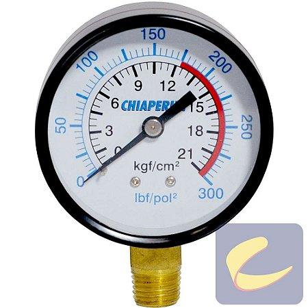 "Manômetro 300 Lbs 175/300 60 mm. 1/4"" Npt Vertical - Compressores Alta Pressão - Chiaperini"