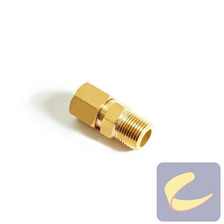 """Conector M. Latão 1/2""""x3/8  - Compressores Baixa Pressão - Chiaperini"""