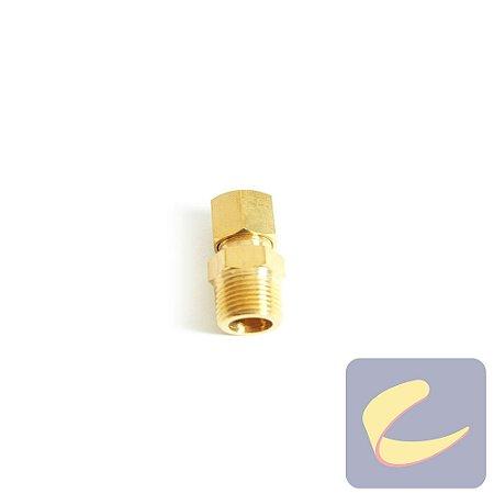 Conector M. Latão 3/8x3/8  - Compressores Odonto/ Baixa Pressão - Chiaperini