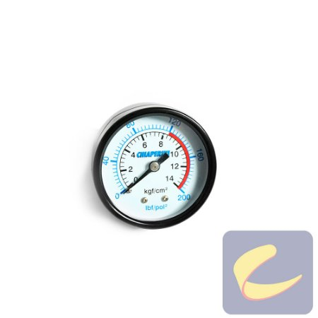 "Manômetro 200 Lbs 120/200 50 mm. 1/4"" Mupac Branco - Compressores Odonto - Chiaperini"