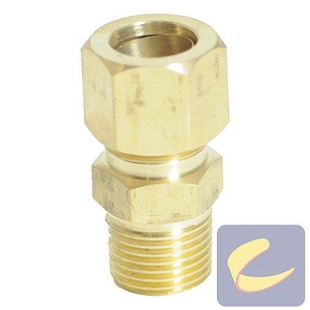 """Conector M. Latão 5/8x1/2""""  - Compressores Alta Pressão - Chiaperini"""