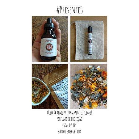 Presente 05: Óleo de Massagem + Perfume de Proteção + Escalda Pés + Banho Fitoenergético