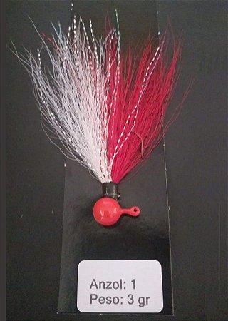 Streamer Jig Finesse Vermelho e Branco Anzol 1/0 e Chumbo 03 gramas - Juva Pesca