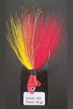 Streamer Jig Anti Enrosco Vermelho e Amarelo Anzol 4/0 e Chumbo 15 gramas - Juva Pesca