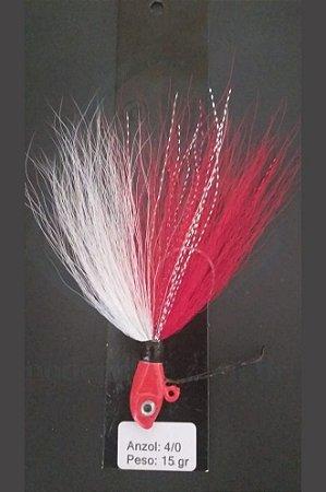 Streamer Jig Anti Enrosco Vermelho e Branco Anzol 4/0 e Chumbo 15 gramas - Juva Pesca