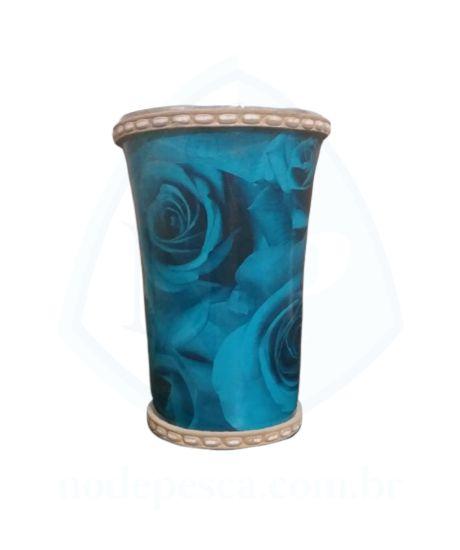 Cuia copo de Tereré de alumínio revestida com vinil de imagem de Rosas Azuis - 150 ML