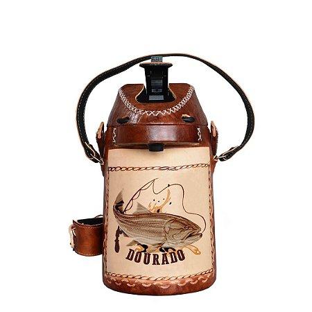 Garrafa Térmica inox revestida em couro Dourado 2,5 litros - Toro Rojo