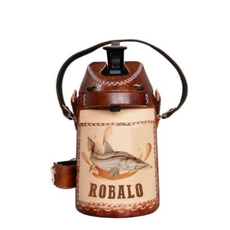 Garrafa Térmica inox revestida em couro Robalo 2,5 litros - Toro Rojo