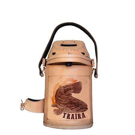 Garrafa Térmica inox revestida em couro Traíra 2,5 litros - Toro Rojo
