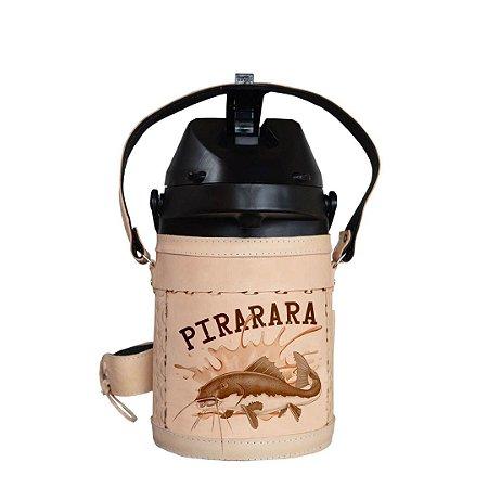 Garrafa Térmica inox semi revestida em couro Pirarara 2,5 litros - Toro Rojo