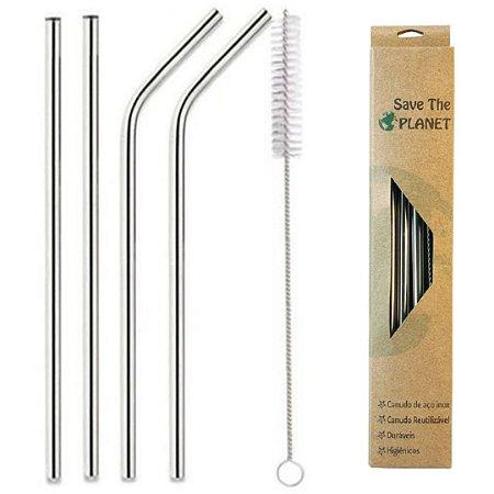 Kit com 4 Canudos Inox Reutilizáveis Reto / Curvo com Escova Higiênica
