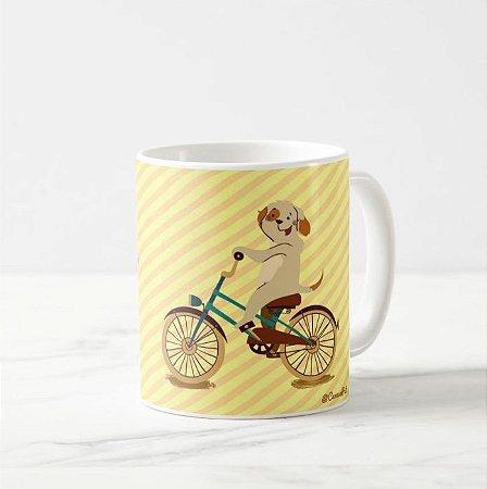 Caneca Pet Cachorro na Bicicleta - Fundo listrado amarelo